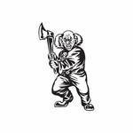 Bald Clown with Axe Decal