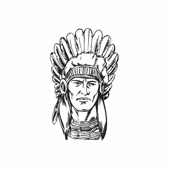 Concerned Native American with Headdress Decal