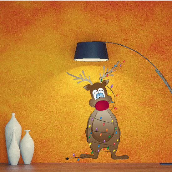 Christmas Reindeer Wrapped in Christmas Lights Sticker