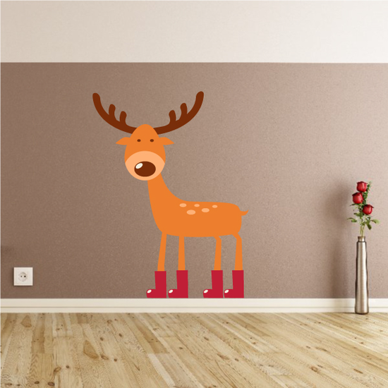 Christmas Reindeer with Boots Sticker