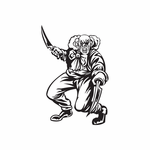 Bald Clown Swinging Knives Decal