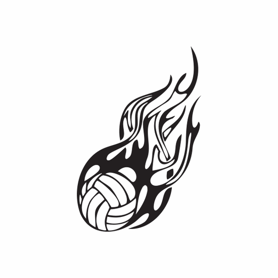 Detailed Flaming Volleyball Decal