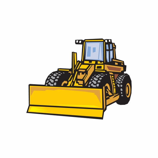 Bulldozer with Wheels Sticker