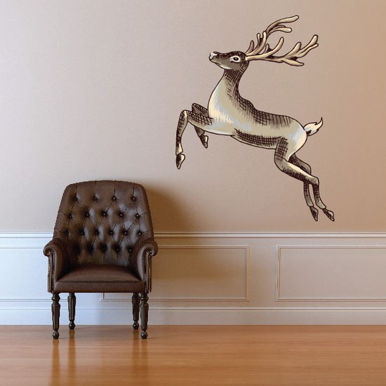 Christmas Reindeer Jumping Sticker