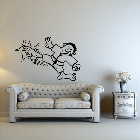 Cartoon High Kick Kung Fu Decal