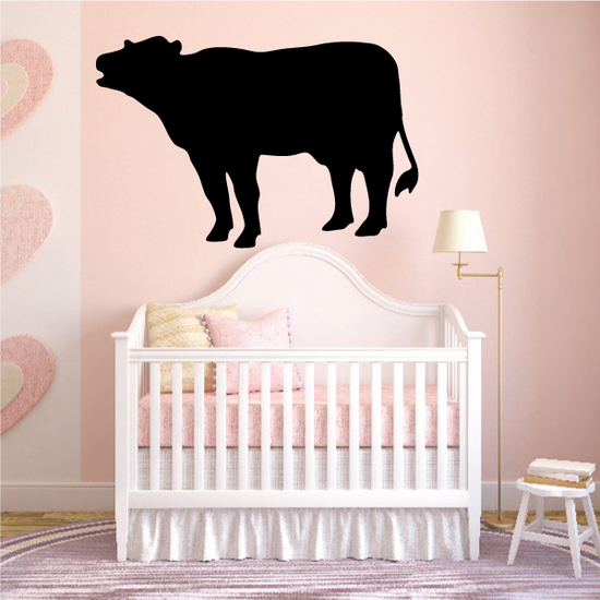 Mooing Hereford Cow Silhouette Decal