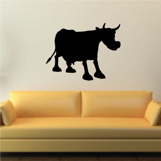 Cartoon Cow Cattle Posed Silhouette Decal