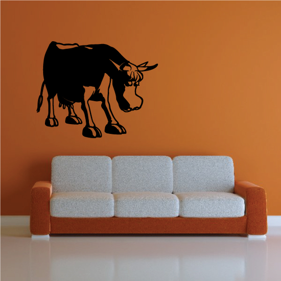 Cartoon Cow Cattle Head Lowered Decal
