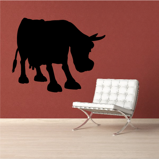 Cartoon Cow Cattle Head Lowered Silhouette Decal