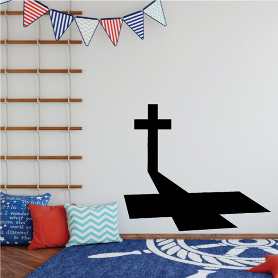 Short Cross with Tall Shadow Decal