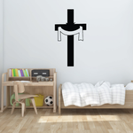 Cross with Hanging Ribbon Decal