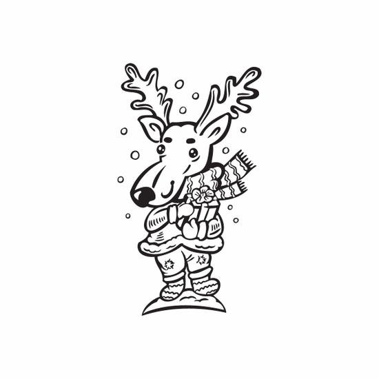 Kids Reindeer in Winter Clothes Decal