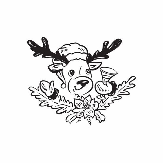 Reindeer with Eggnog Wreath Decal