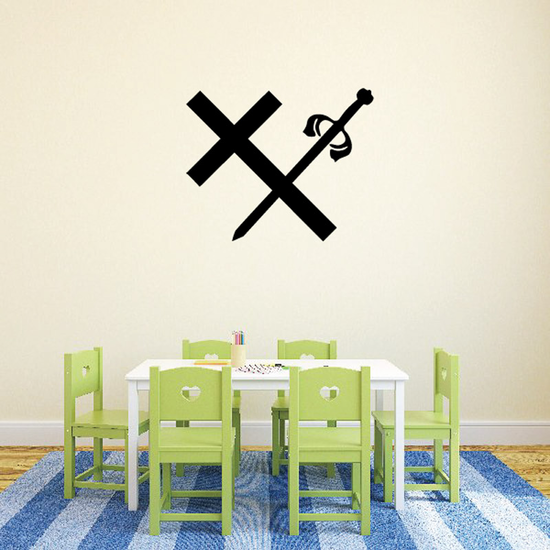 Crossed Sword and Cross Decal