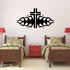Bordered Cross with Tribal Flames Decal