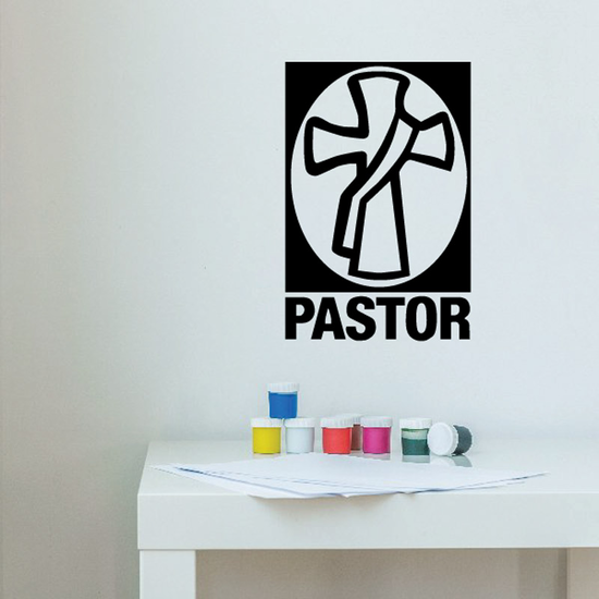 Pastor Cross with Outlined Sash and Separate Text Decal