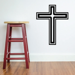 Double Outline Cross Decal