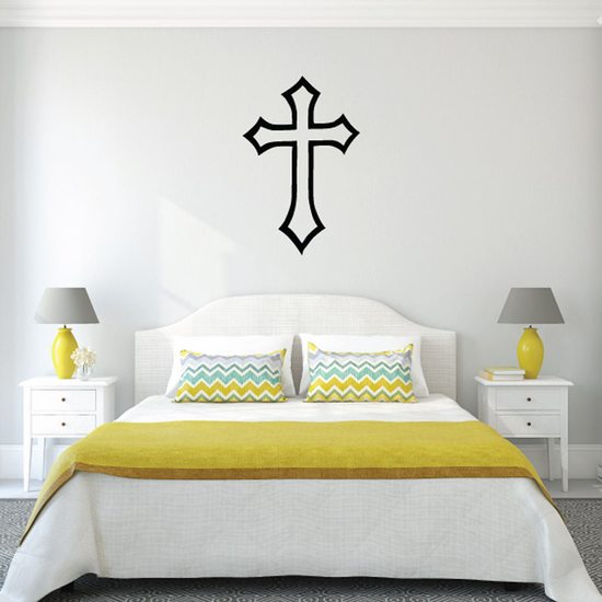 Outlined Diamond Cross Decal