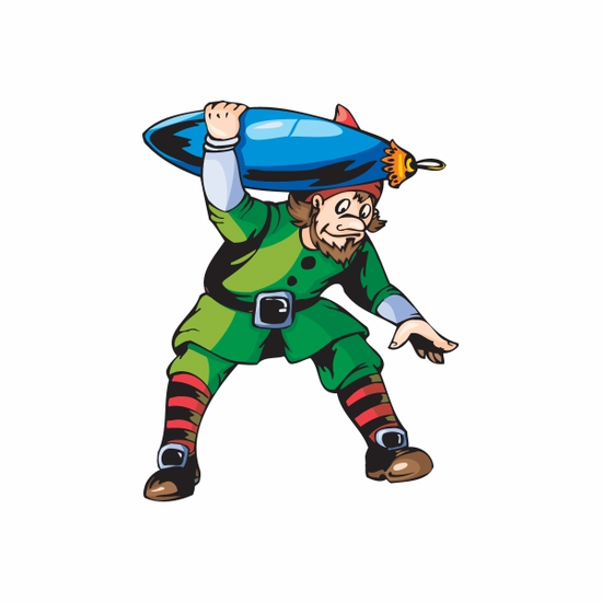 Elf Carrying Blue Oblong Ornament Decal