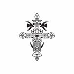 Intricate Cross with Tribal Designs Decal
