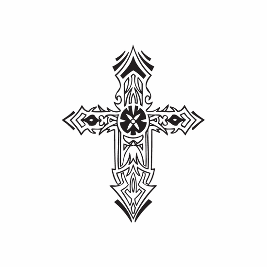 Intricately Detailed Cross Decal
