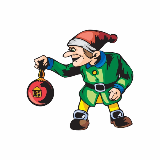 Elf with Red Ball Ornament Decal