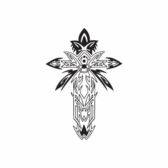 Detailed Tropical Cross Decal