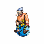 Elf Sitting on Blue Ball Ornament Decal