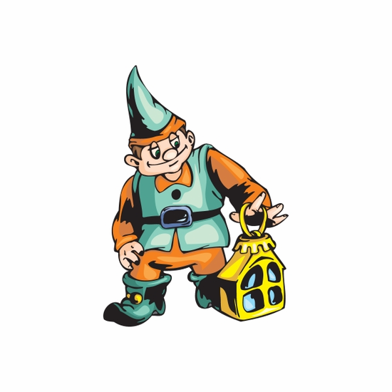 Elf with Yellow House Ornament Sticker