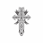 Intricate Cross Decal with Tribal Spikes Decal