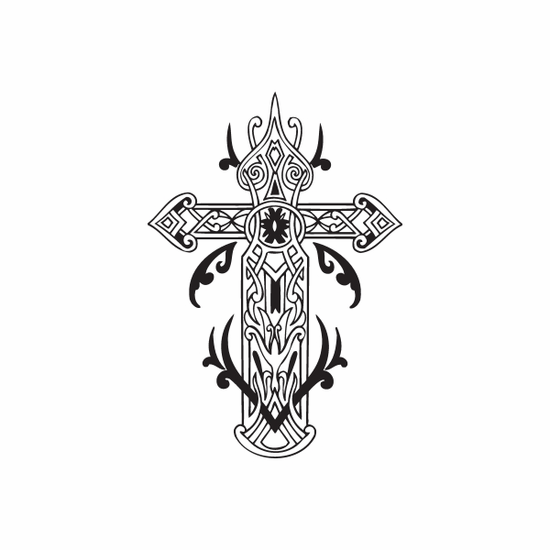 Detailed Cross with Tribal Embellishments Decal