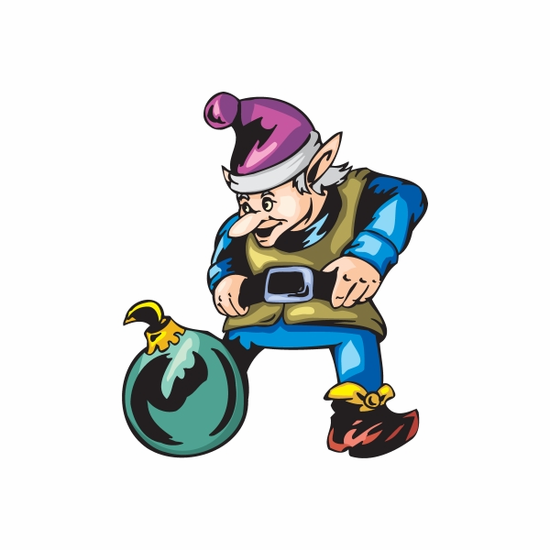 Elf Looking at Teal Ball Ornament Sticker