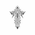 Ornate Cross with Tribal Spikes Decal
