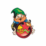 Elf Holding Red Ball Ornament Sticker