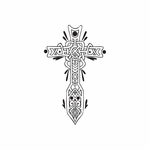 Intricate Cross with Shines Decal