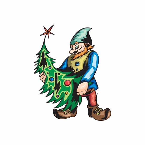 Elf Holding Decorated Tree Sticker