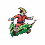Elf Riding Tree Sticker