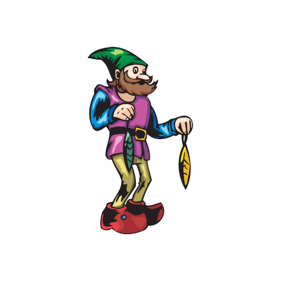 Elf with Green and Yellow Ornaments Sticker