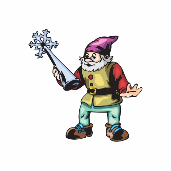 Elf with Silver Tree Topper Sticker