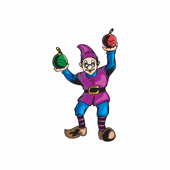 Elf with Ball Ornaments Sticker