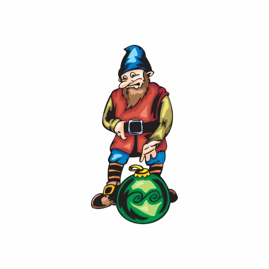 Elf Looking at Green Ball Ornament Sticker