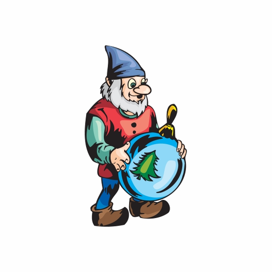 Elf with Blue Tree Ornament Sticker