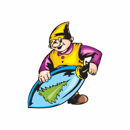 Elf with Oblong Tree Ornament Sticker