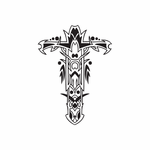 Elaborate Cross with Tribal Embellishments Decal