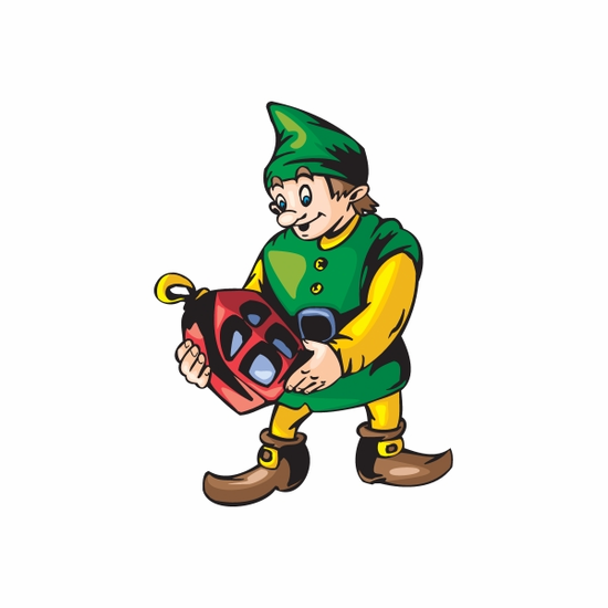 Elf with Red House Ornament Sticker
