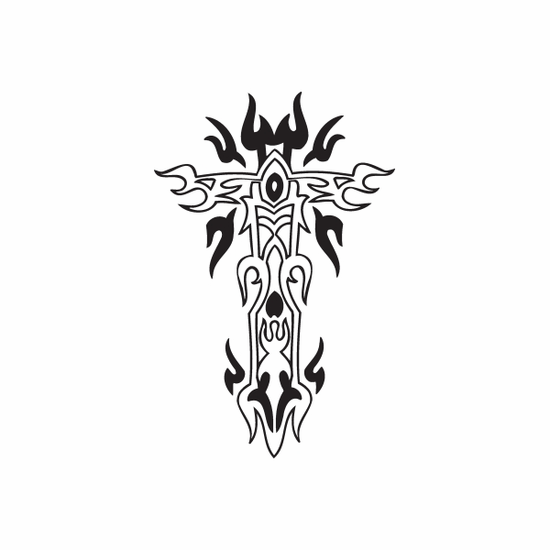 Cross with Tribal Flames Decal