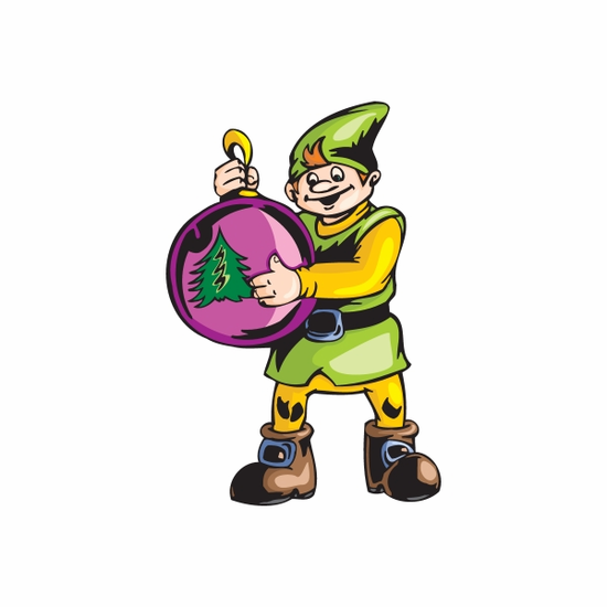 Elf with Pink Tree Ornament Sticker