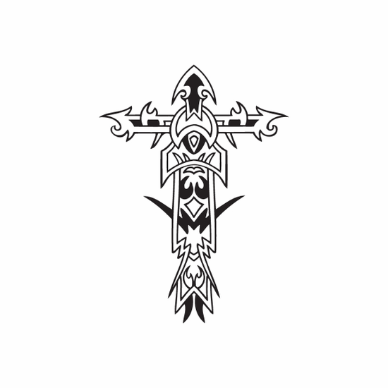 Elaborate Pointed Cross Decal