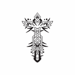Cross with Jagged Embellishments Decal