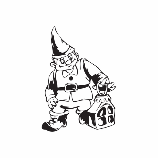 Elf with House Ornament Decal